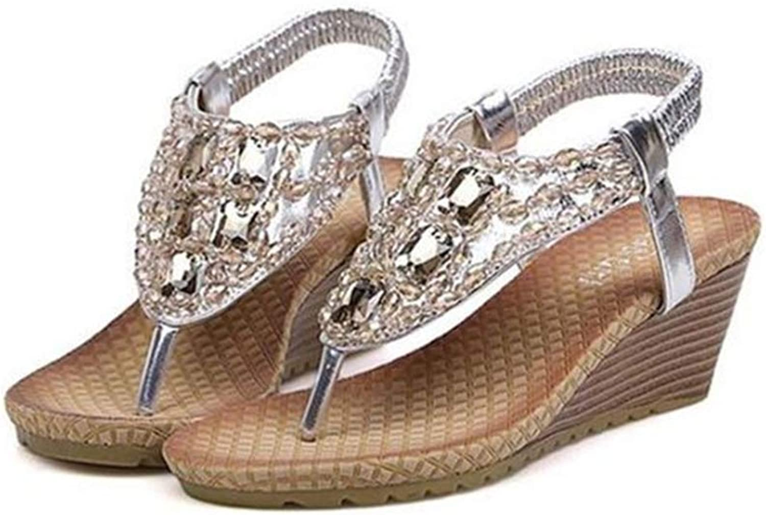 DBQWTY Women's Fashion Summer Workplace Leisure Water Drill Sandals Fashion Open-Toed Sandals Slope-Heeled Sandals