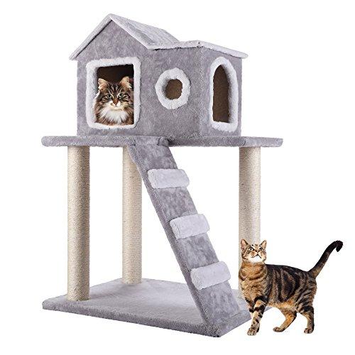 CO-Z Árbol para Gatos Rascador para Gatos Torre Condominio de Algodón con Escalera Casa Estable Recubrimiento de Felpa 90cm