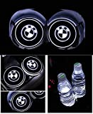 PRXD Lot de 2 Coussinets de Protection pour Voiture LED 7 Couleurs Changing USB Charging Mats Bottle Coasters Car Atmosphere (BMW)