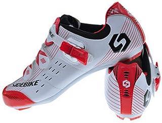 Zapatos de Ciclismo con Pedales y Calas, Zapatillas de Ciclismo de Carretera para Adultos, Zapatos de Bicicleta Resistente al Viento Transpirable de Nylón y Cuero Sintético