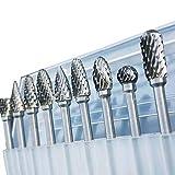 Qinqin666 1/8' Herramientas de la Herramienta Rotatoria de la caña de carburo de tungsteno Fresa Burr Doble de Diamantes de Talla rotativa Dremel Pulido eléctricas para perforación de carpintería