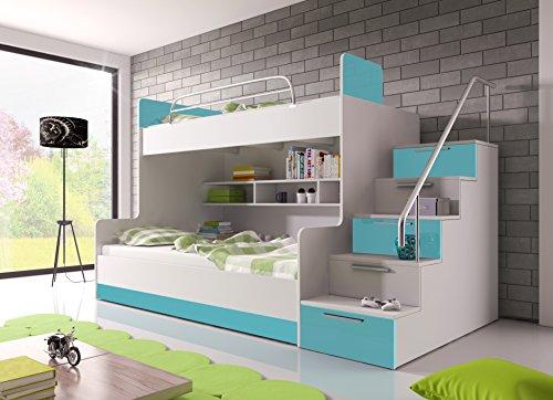 Möebel für Dich Hochglanz Etagenbett Doppelbett Alex mit Regalen, Treppe und Bettkasten in weiß/schwarz/rosa/grau/violett/blau (blau)