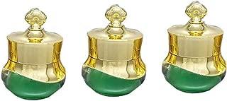 3 PCS 5ML/0.17oz Vintage Style Green Glass Empty Refillable Perfume Bottle Retro Golden Crown Lid Perfume Bottle Cosmetic Sample Pot Cream DIY Beauty Tools Accessories Portable Make Up Travel Bottles