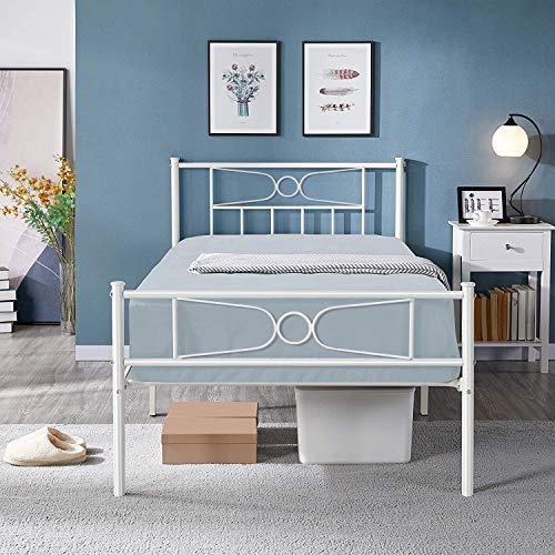 Gime - Plataforma de cama individual para cama individual, sin somier de caja, tamaño doble, con cabecero de almacenamiento, base de...