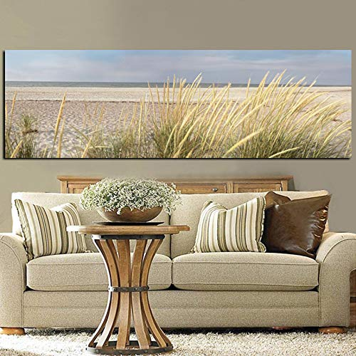 NIMCG Paisaje Marino Playa Paisaje Pintura Cartel Lienzo Arte HD Imprimir Sky Island Dune Tail Grass Mural Sala de Estar Imagen (sin Marco) R1 30x80CM