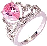 ZHJBD Fine Jewelry/Anillo de Oro Blanco Plateado Mujeres Rosa Pera Crystalss (Color : Pink Zirconia, Size : L 1/2)