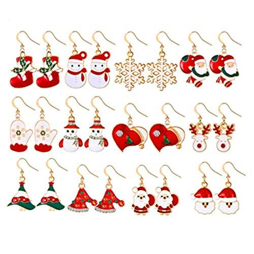 12 Paires Noël Boucles D'oreille Set,Stud de Noël Ensemble de Bijoux Boucles,Boucles d'Oreilles Pendantes de Goutte de Noël,Boucles d'oreilles Noël Hypoallergénique