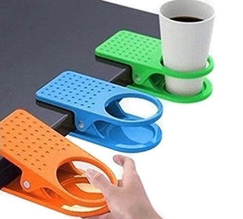 VNDEFUL 3 Pcs Colorful Desk Cup Holder Clip Lap Portable Table Folder Table Manager Clip Coffee Drink Water Mug Stand