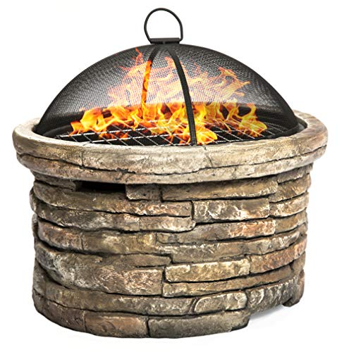 Homeology SAMUI Majestic Garden & Patio Heater Fire Pit Brazier and Barbecue with Eco-Stone Finish