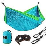 Terra Hiker Hamac de Camping, Nylon à Parachute, avec 2 Mousquetons et 2 Sangles Inclus, pour Randonnée Voyage Plage Jardin (2 Personnes, Bleu Ciel)