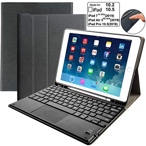 iPad Keyboard Case for iPad 10.2 7th Generation 2019, Eoso Detachable Keyboard Built-in Touchpad & Pencil Holder for iPad 10.2 Inch/iPad Air 3 10.5'(3rd Gen)/iPad Pro 10.5 inch(Black)