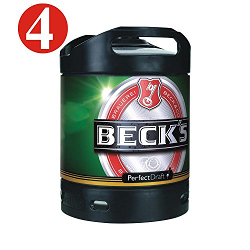 4x Cerveza Beck Pils Perfect Draft 6 litros tambor 4,9% vol