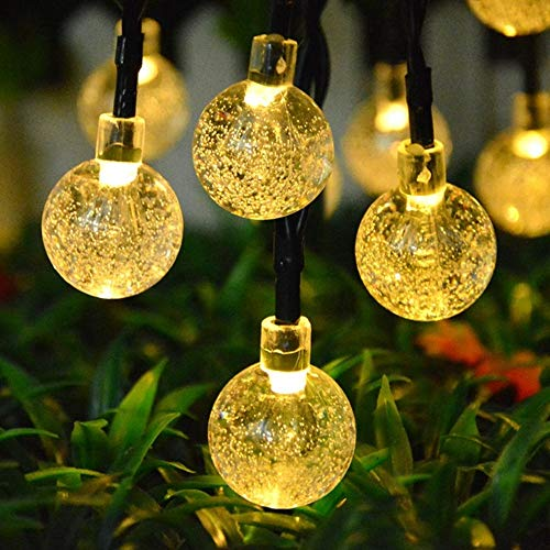 Topeedy 6M String Lights with 40LED Bulbs, Battery Powered Decorative for Bedroom,Crystal Balls Fairy String Lights,Great Garden Terrace Patio Outside Lights for Home,Garden(Warm White)