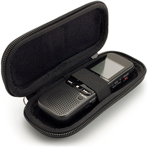 igadgitz U6584 EVA Reisverschluss Tragbare Hart Schutzhulle Etui Kompatibel mit Digitale Diktiergerate (Innenmasse: 125x50x22mm) - Schwarz