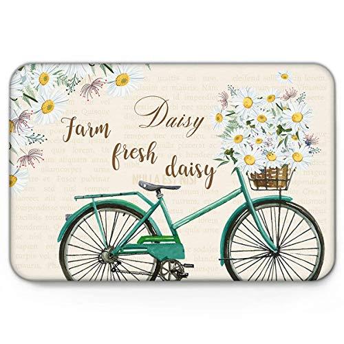 Teppich Teppiche Carpet Taracarpet Fußmatte Farm Fresh Daisy Dirt Trapper Vintage Fahrrad Blumen Old Fashion Zeitung Vorleger 40X60CM