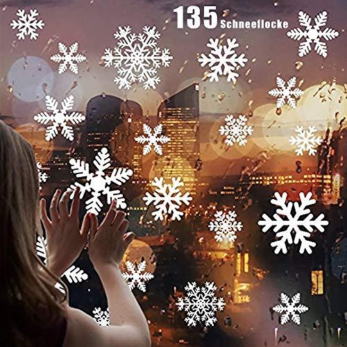 ZoneYan 135 Pegatinas Decorativas de Copo de Nieve, Blanco Pegatina de Ventana Decoración de Navidad, Pegatina Copo de Nieve de la Navidad