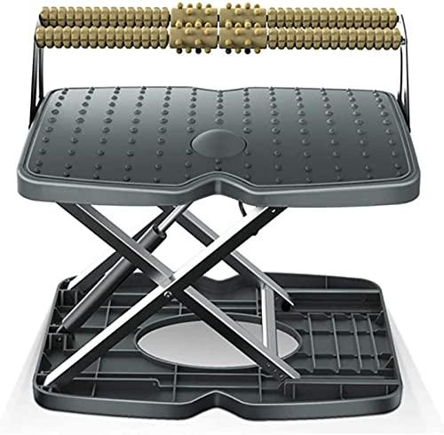 Reposapiés ergonómico debajo del escritorio, reposapiés antideslizante de altura ajustable, interruptor de elevación con botón pulsador, con función de masaje, superficie inferior antideslizante, se a