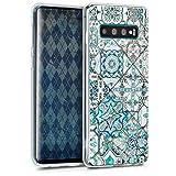 kwmobile Hülle kompatibel mit Samsung Galaxy S10 - Hülle Handy - Handyhülle Marokkanische Fliesen Uni Blau Grau Weiß