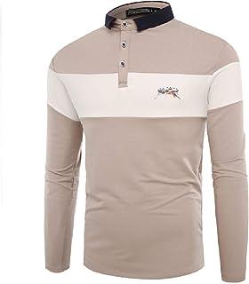 تي شيرت بولو رجالي مصنوع من القطن بأكمام طويلة من SportsXX مطرز بألوان كونجوين