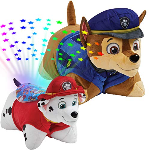 "Pillow Pets Nickelodeon Paw Patrol, 16"" Chase Marshall Sleeptime Lites, Stuffed Animal Plush Toy & Night Light, Multicolor 061202CM"