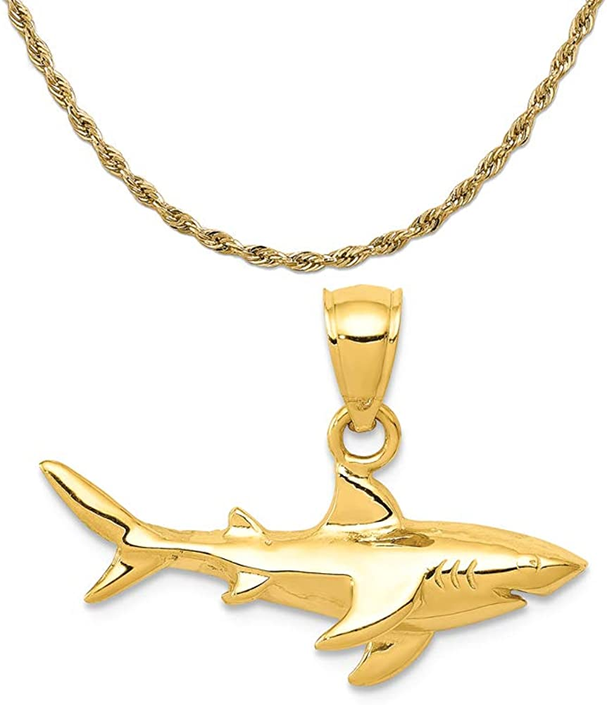 Mireval 14k Yellow Gold Shark Pendant on a 14K Yellow Gold Rope Chain Necklace, 16