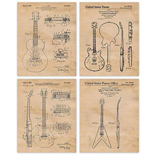 Vintage Gibson Guitar Patent Poster Prints, Set of 4 (8x10) Unframed Photos, Great Wall Art Decor Gifts Under 20 for Home, Office, Man Cave, Garage, College Student, Teacher, Band & Rock n Roll Fan