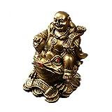 Feng Shui, statuetta in poliresina, Buddha che sorride seduto sui soldi, statua decorativa...