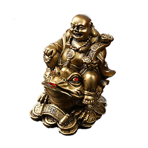 Feng Shui Polyresin Laughing Buddha Sit on Money Frog (Three Legged Toad) Statue Home Office Décor(Bronze)