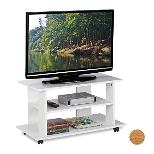 Relaxdays TV Board mit Rollen, 2 Fächer für Fernseher, Konsole & Receiver, fahrbarer Fernsehtisch, HBT 45x80x40 cm, weiß, PB (Particle, Papier, Kunststoff, 45 x 80 x 40 cm