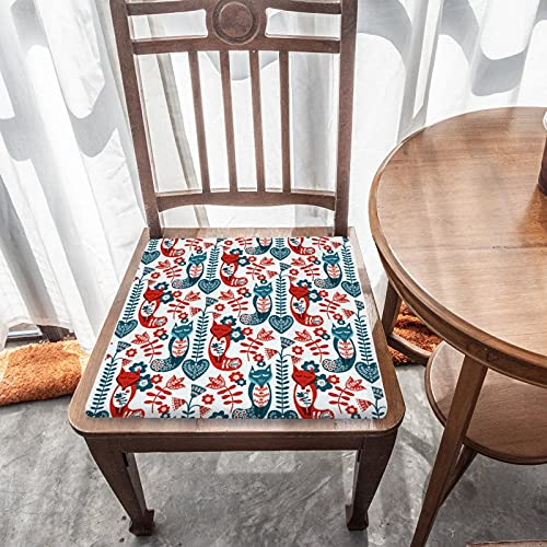 Cojín de asiento extraíble para decoración del hogar, para exteriores, jardín, patio, cocina, oficina, lavable, cuadrado, cómodo, funda de silla, diseño nórdico, color rojo y azul