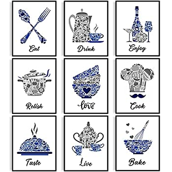 9 Pieces Kitchen Decor Posters Blue Vintage Kitchen Wall Decoration Mosaic Pictures Dining Room Wall Art Funny Motivational Inspirational Wall Decor for Restaurant Bar Cafe Home Unframed 8 x 10 Inch