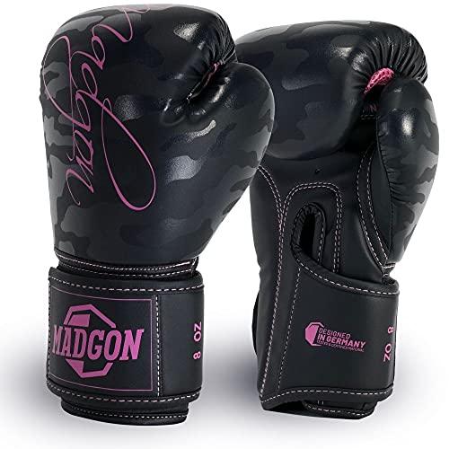 MADGON Frauen Boxhandschuhe aus bestem Material für Lange Haltbarkeit! Damen Kickboxhandschuhe für Kampfsport, MMA, Sparring und Boxen mit optimaler Schlagdämpfung - inkl Beutel!