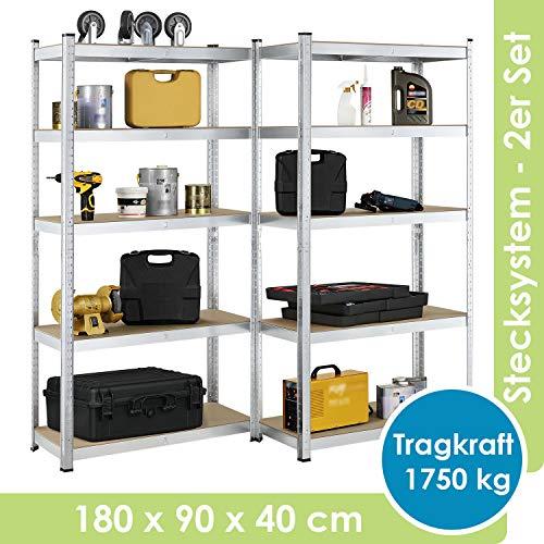 Juskys 2er-Set Lagerregal Basic 2X 180x90x40cm | 1750 kg | 10 Böden | verzinkt | Schwerlastregal Steckregal Metall Kellerregal Regalsystem Regal