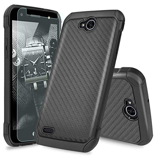 LG X Power 2 M320/LG Fiesta LTE/LG X Charge/LG Fiesta 2 Case, with TJS [Tempered Glass Screen Protector] Shock Absorbing Armor Case Carbon Fiber Back with Hard TPU Inner Layer (Black)