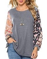 HOCOSIT Women's Waffle Knit Tunic Tops Print Stitching Long Sleeves Loose Blouse Round Neck Side Split Shirt Gray, X-Large