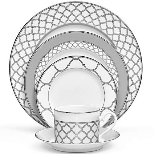 Noritake Eternal Palace 5-Piece Place Dinnerware Setting in Grey/White