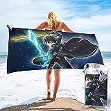 FETEAM Sword Art Online Toallas de Playa adecuadas para Nadar, Gimnasio, Ducha, Mochila, Viajes y Exteriores, súper Absorbente, Ligero y de Secado rápido, Viene con Ganchos y Bolsas
