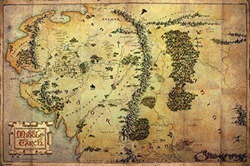 1art1 62844 El Hobbit - Póster (91 x 61 cm), diseño de Mapa de la Tierra Media