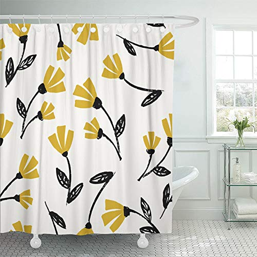 Emvency Decorative Shower Curtain Flowers Pattern in Black Mustard Yellow and Cream Beautiful Floral Wall Design 72'x78' Waterproof Bathroom Shower Curtain Set with Hooks