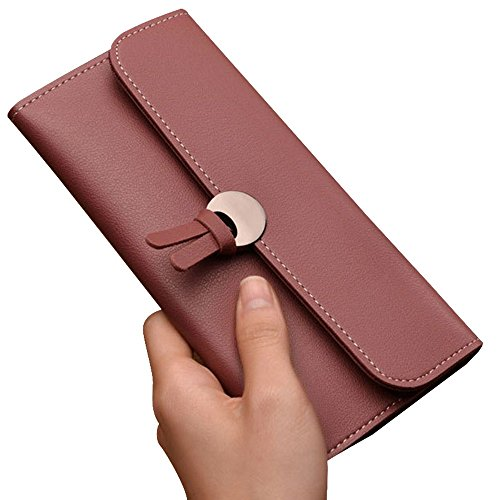 Haotfire Women Clutch Long Purse Leather Wallet Credit Card Holder Large Capacity Bags