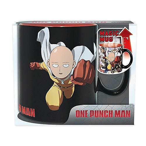 One Punch Man - Taza de cerámica con efecto térmico (460 ml, en caja de regalo), diseño de Saitama y Genos