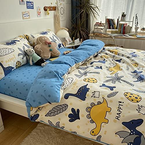 GETIYA Ropa de cama para bebé, 100 x 135 cm, diseño de dinosaurios, funda nórdica de dinosaurios, color amarillo y azul, reversible, ropa de cama para niñas, con funda de almohada de 40 x 60 c