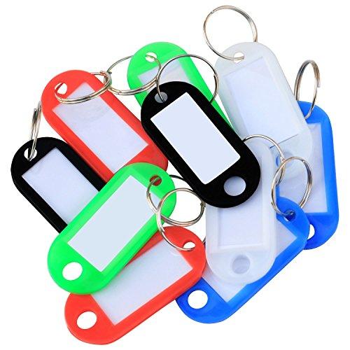 TRIXES 50 Stück Schlüsselanhänger Kunststoff farbig codiert mit Papier Etiketten und Spaltring