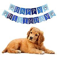 Ponacat ペット誕生日パーティー用品 犬 誕生日バンダナ 蝶ネクタイ お誕生日おめでとうバナーケーキ トッパーセット 完璧な犬の誕生日のサプライ品 通気性 調整可能 ブルー