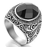 Flongo Gioielli Acciaio inossidabile classico anello uomo donna, Anelli di pietra d'epoca, design accattivante, Anello antico gotico, Unisex Colore Argento Nero