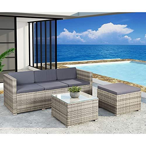 ArtLife Polyrattan Lounge Punta Cana M für 3-4 Personen mit Tisch in grau-meliert mit Bezügen in Dunkelgrau | Gartenmöbel Sitzgruppe Rattangarnitur - 2