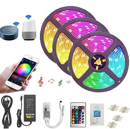 Ototon LED Streifen 15M LED Strip WiFi Smart 5050 RGB 450 LEDs IP65 Wasserdicht mit 24 Tasten IR-Fernbedienung Kompatibel mit Alexa Echo, Google Home, Dekoration für Party Indoor Outdoor Garden