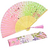 Abanicos plegables de mano de seda con marco de bambú, diseño de «Sakura» para mujeres,con una funda de tela para protección por OMyTea, seda sintética, WZS-45