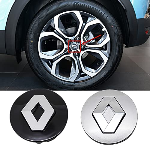 Cubierta para cubo de rueda de 58 mm 57 mm, compatible con Renault Clio 4 Megane 2 3 Laguna Duster Captur Fluence Kadjar Espace Accessories Center Cover (nombre del color: plateado 58 mm)