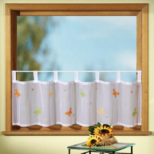 Gardine Scheibengardine FRÜHLING modernes Schlaufen-Bistro mit Schmetterlingen in orange und grün bestickt HxB 45x150 cm - Vorhang in geprüfter Top Qualität - sehr schöner Fall…auspacken, aufhängen, fertig! Typ218